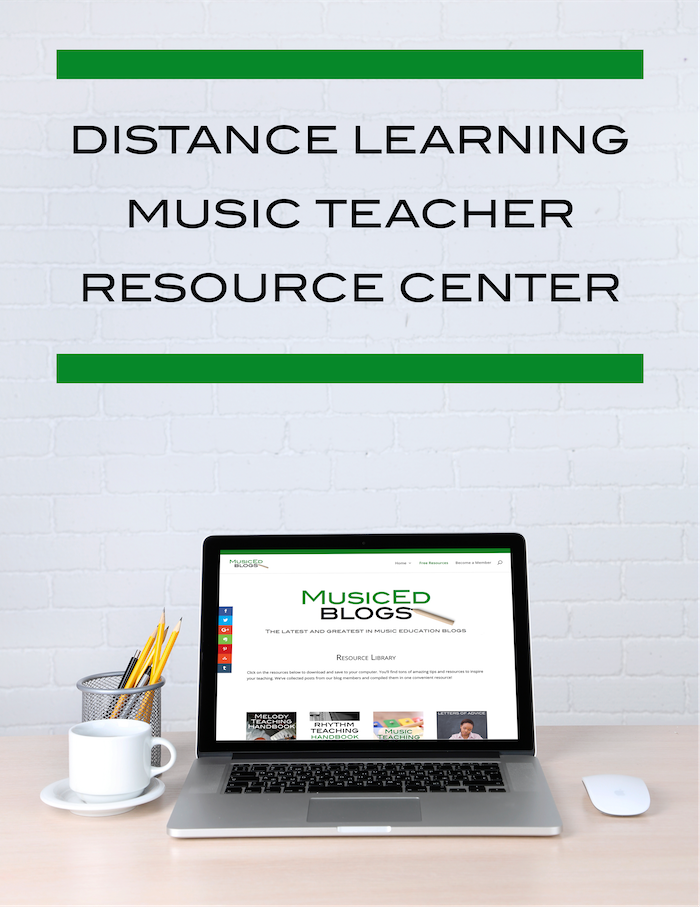 """picture of a computer with the text """"Distance learning music teacher resource center"""""""